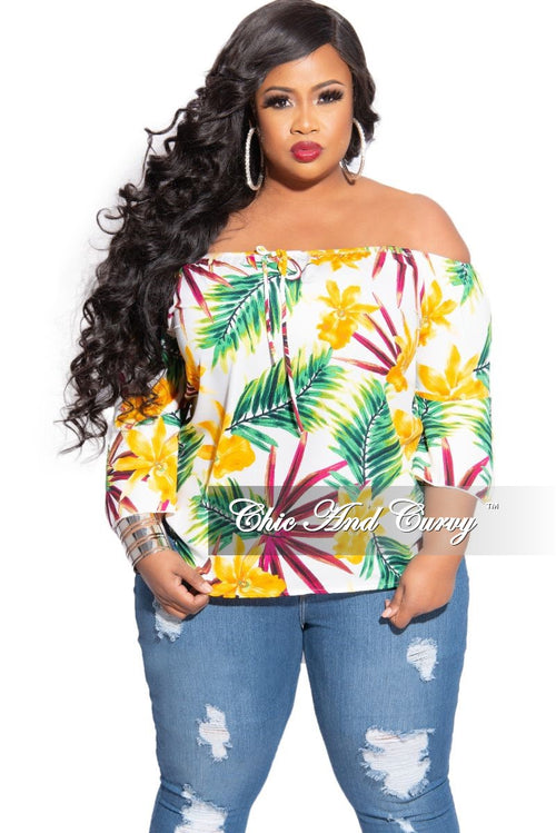 New Plus Size Off The Shoulder Top in Multi-Colored Off White Tropical Print