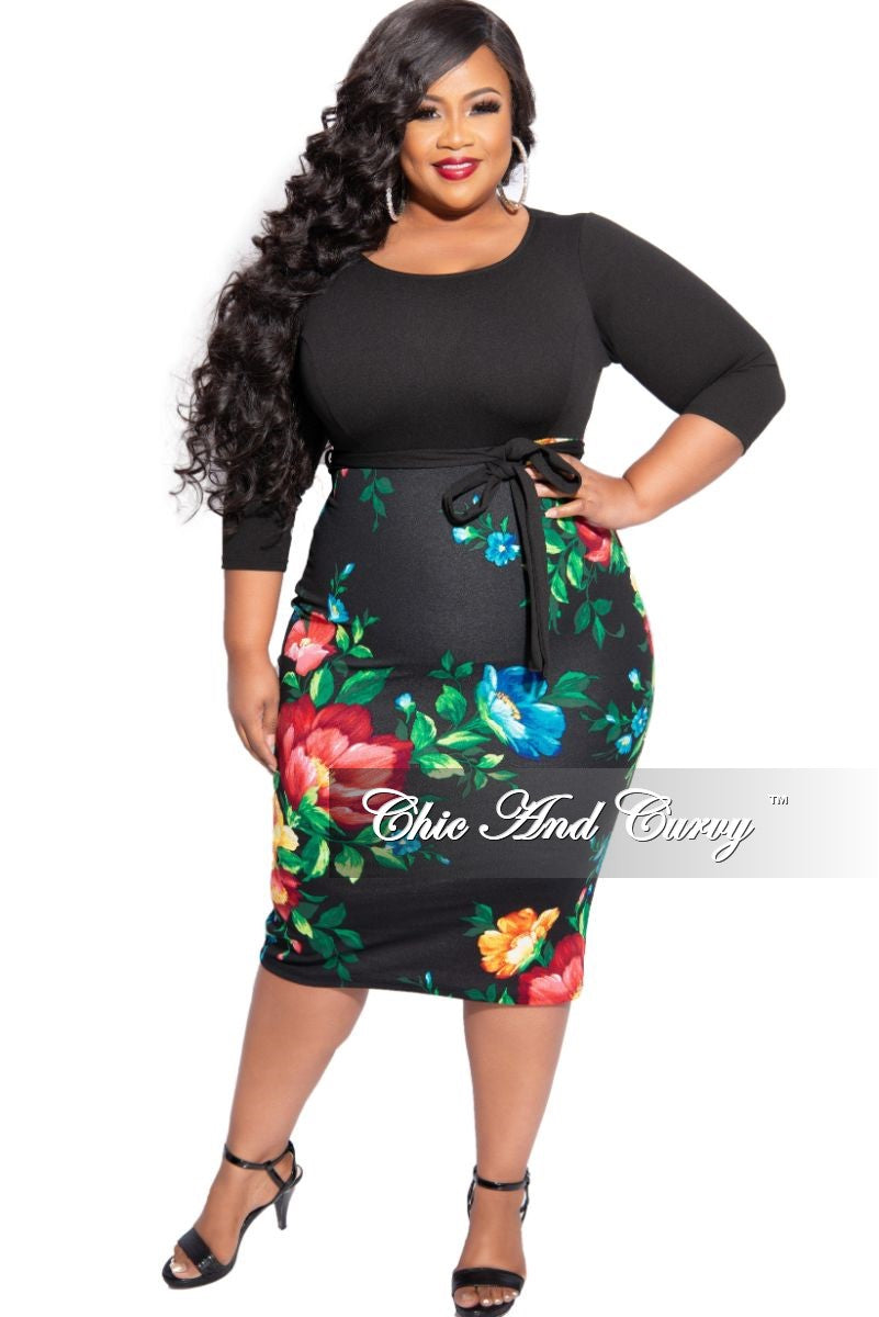 New Plus Size BodyCon Dress with Black Top and Floral Bottom
