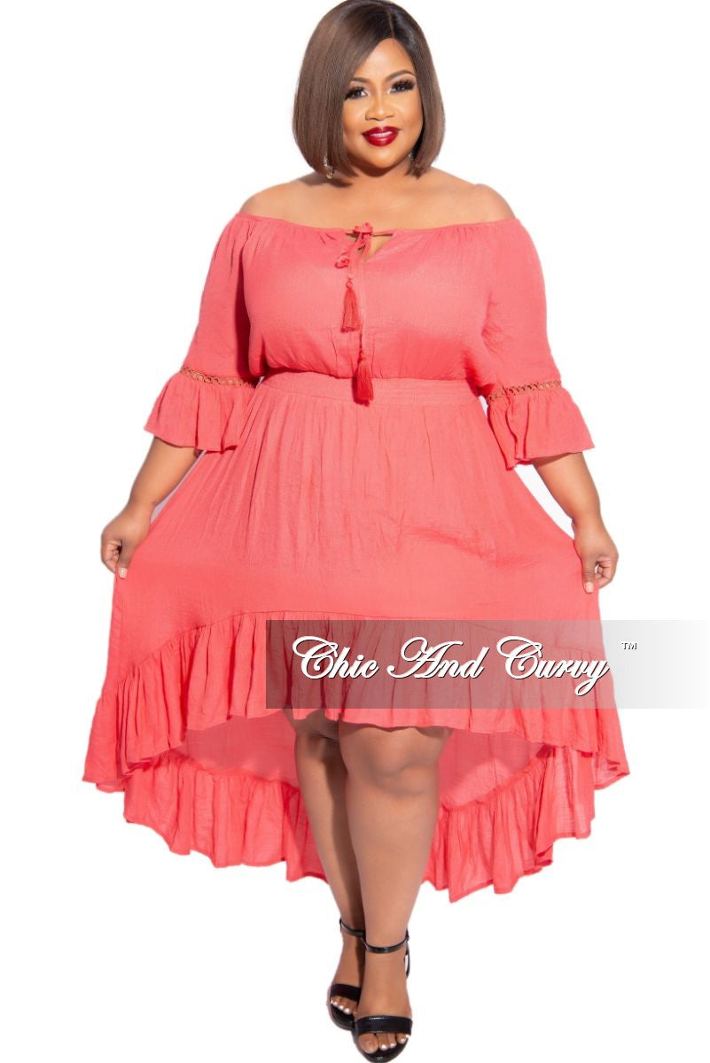 New Plus Size Off the Shoulder High Low Dress in Coral