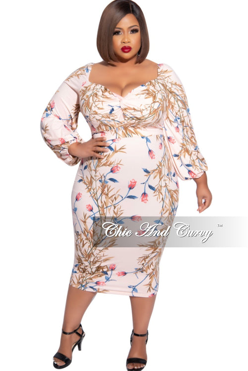 New Plus Size Off the Shoulder Sweetheart BodyCon Dress in Soft Pink Floral Print