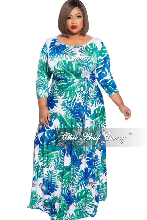 New Plus Size 3/4 Sleeve Pocket Tie Maxi in Blue Teal White Palm Print