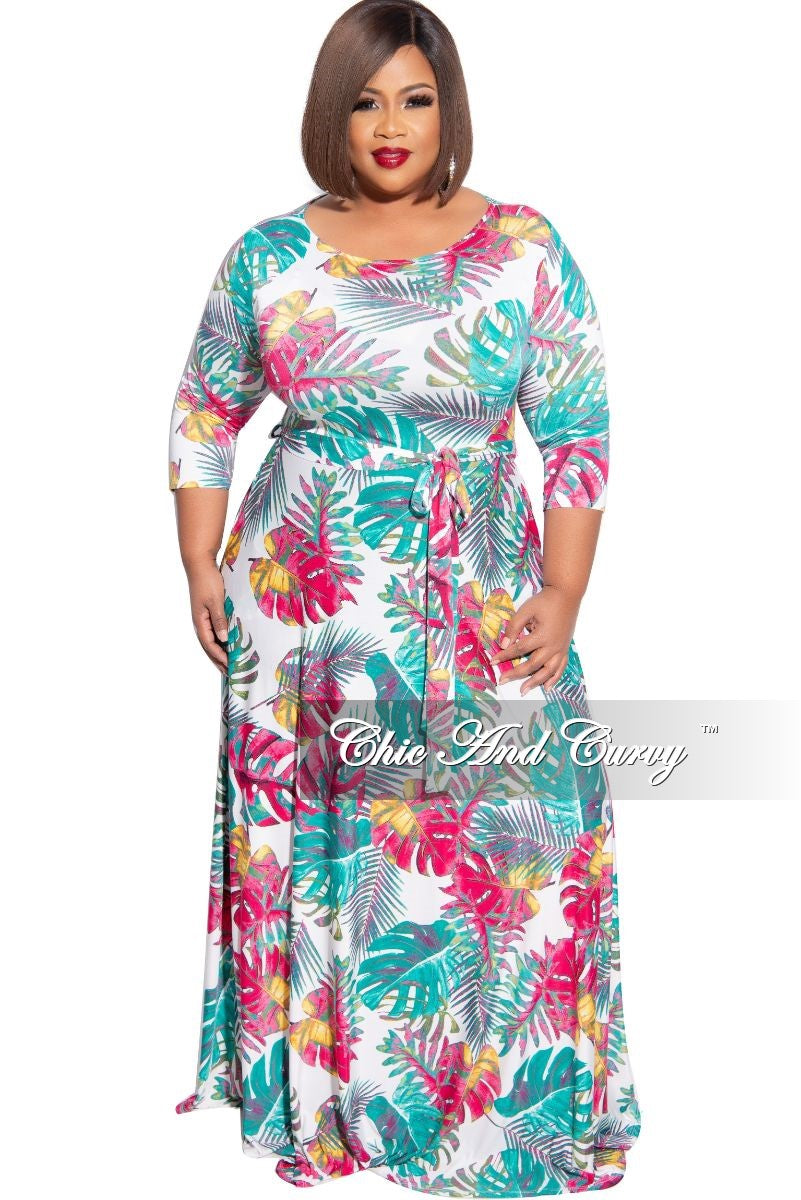 New Plus Size 3/4 Sleeve Pocket Tie Maxi in Pink Mustard Teal White Palm Print