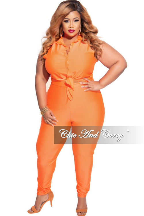 New Plus Size 2-Piece Sleeveless Stretchy Crop Tie Top and High Waist Pant in Neon Orange