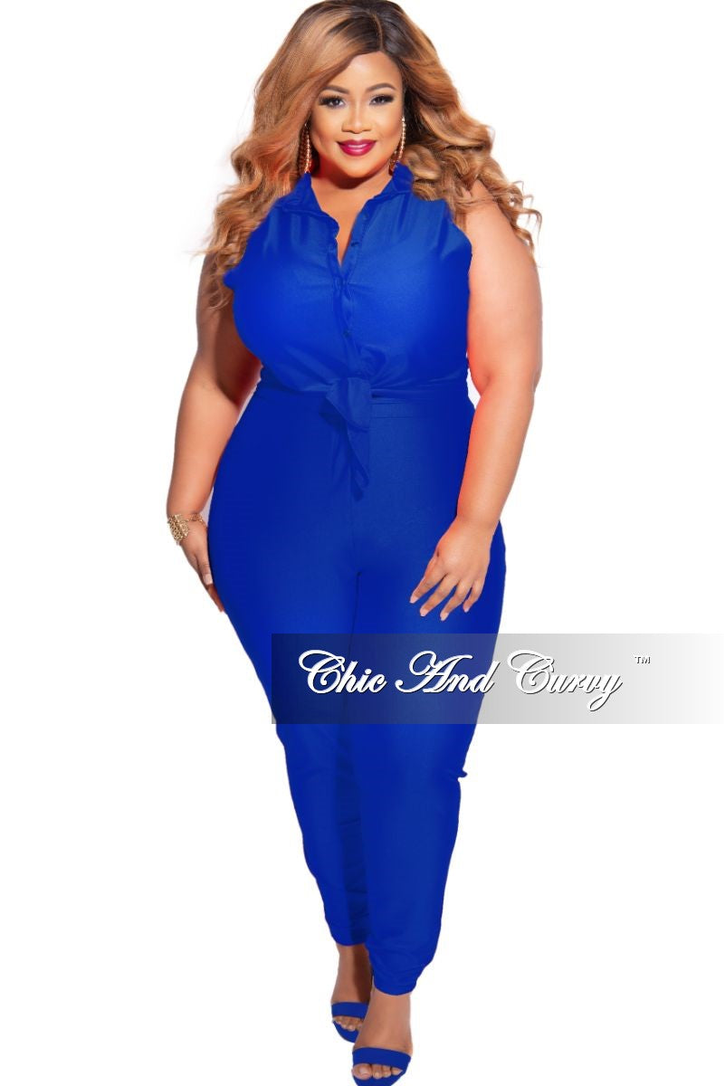 New Plus Size 2-Piece Sleeveless Stretchy Crop Tie Top and High Waist Pant in Royal Blue