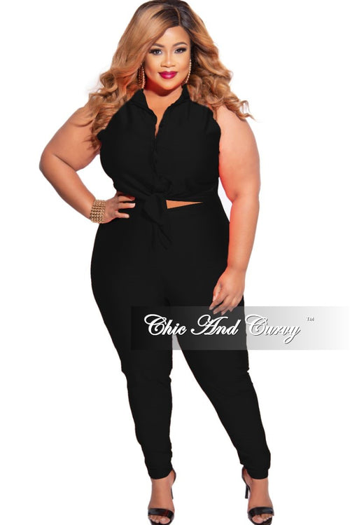 New Plus Size 2-Piece Sleeveless Stretchy Crop Tie Top and High Waist Pant in Black