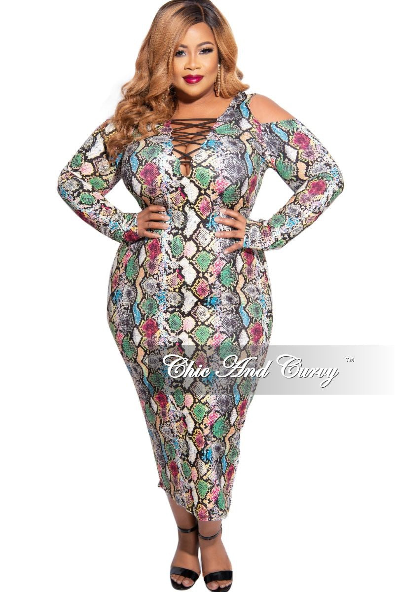 New Plus Size Criss Cross BodyCon Dress in Multicolor Snake Print