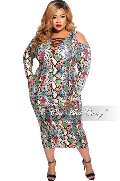 New Plus Size Criss Cross V Neck BodyCon Dress in Multi-Color Snake Print