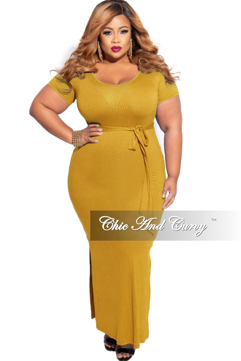 Final Sale Plus Size Tie Maxi Dress with Side Slits in Mustard