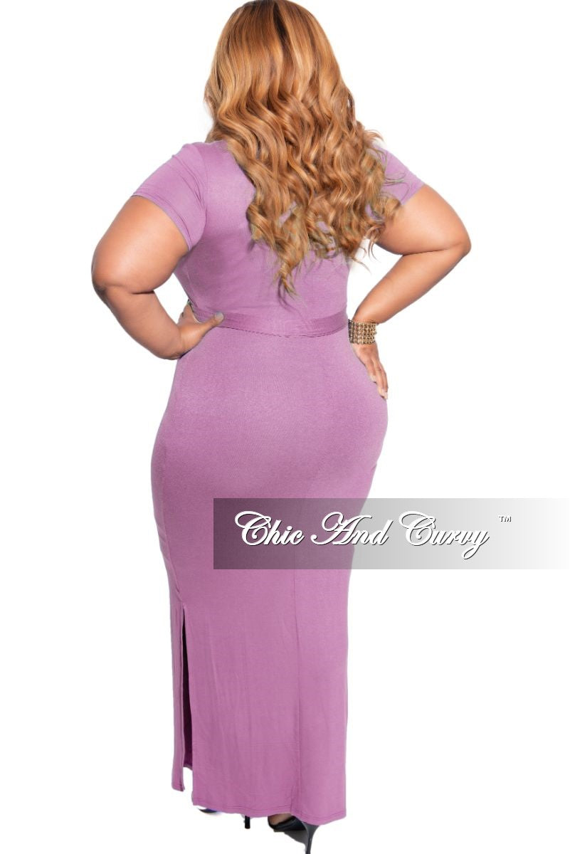 Final Sale Plus Size Tie Maxi Dress with Side Slits in Mauve