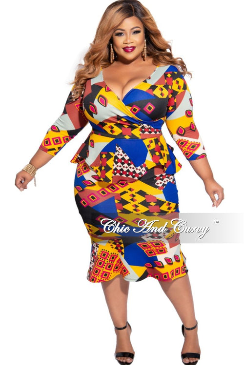 New Plus Size Faux Wrap Ruffle Bottom Peplum Dress in Purple Multi-Color Print