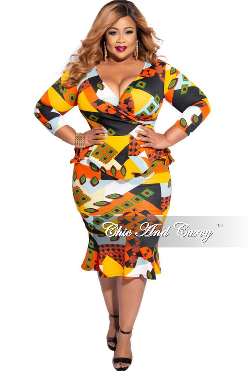 New Plus Size Faux Wrap Ruffle Bottom Peplum Dress in Orange Multi-Color Print