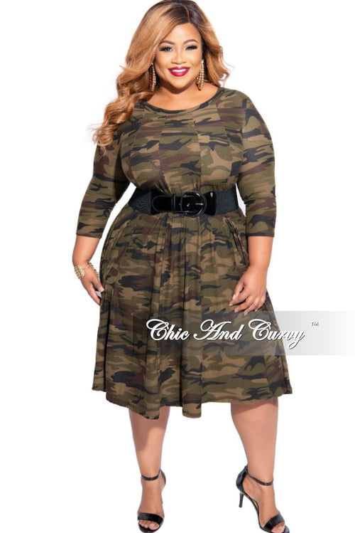 New Plus Size Baby Doll Swing Dress in Camouflage