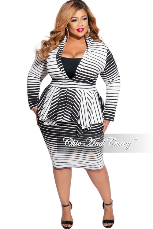 New Plus Size BodyCon Dress with V Neck & Peplum in Black & White Stripes