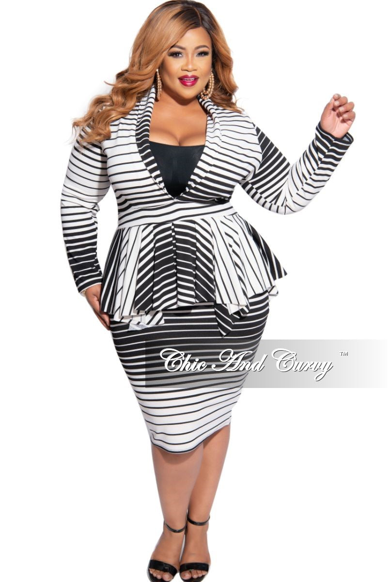 New Plus Size BodyCon Dress with Deep V Neck & Peplum in Black & White Stripes