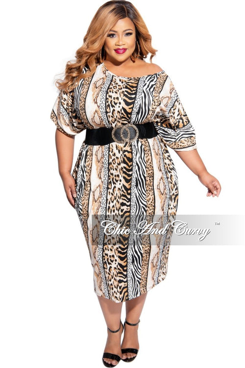 Final Sale Plus Size Oversize Dress in Animal Print