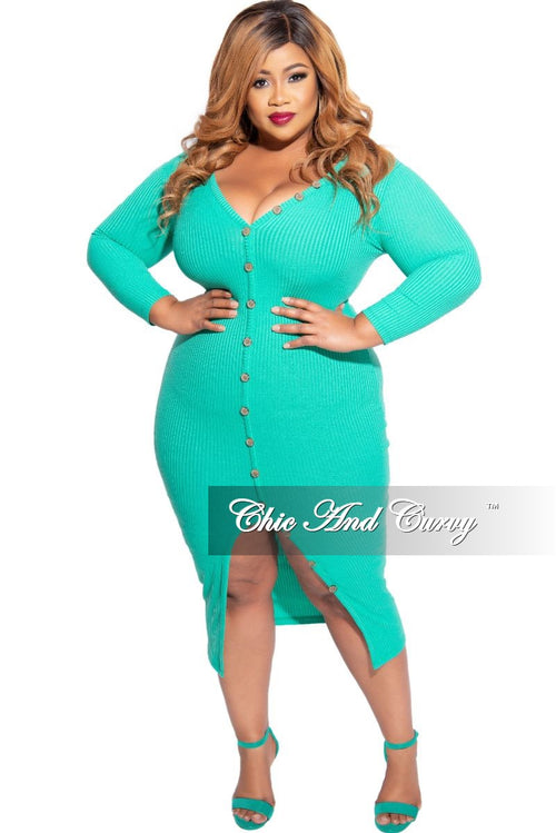 New Plus Size Ribbed Button BodyCon Dress in Mint Green