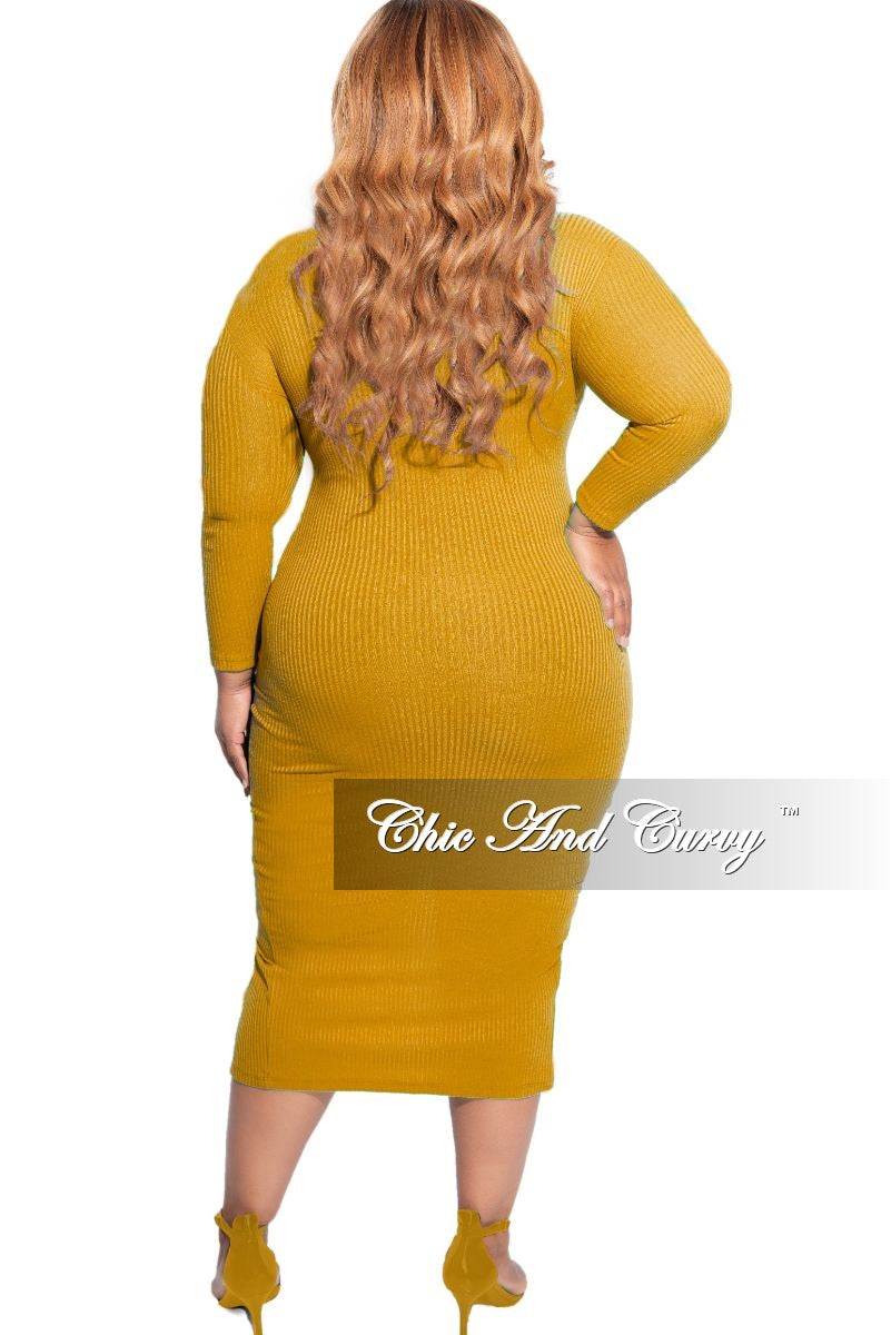 New Plus Size Ribbed Button BodyCon Dress in Mustard