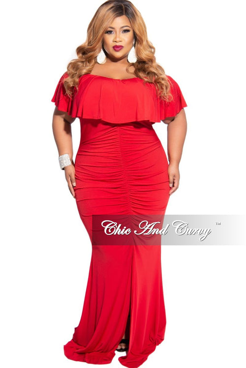 New Plus Size Ruched BodyCon Gown with Off the Shoulder Ruffle and Front Slit in Red
