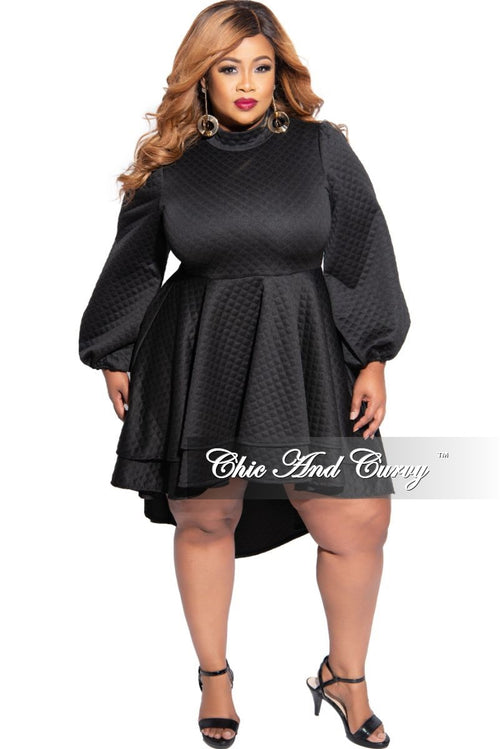 New Plus Size Gold Quilted High Low Dress/Tunic in Black