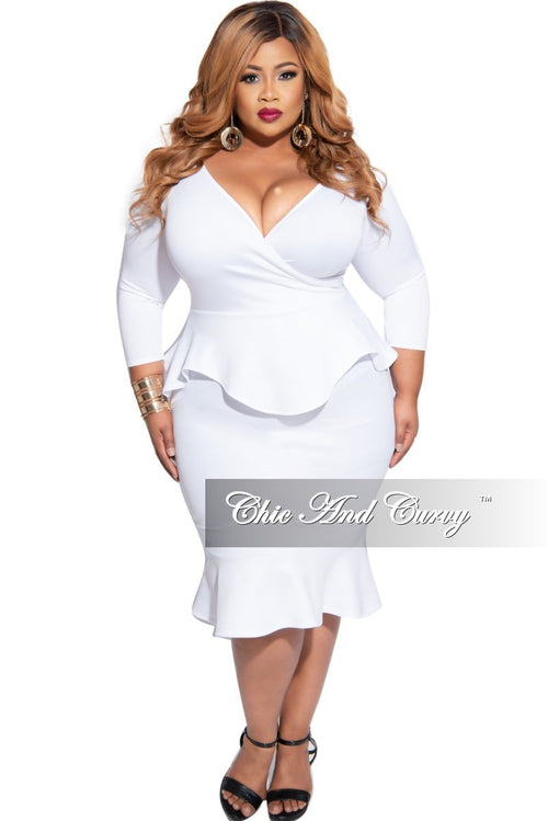 Final Sale Plus Size Faux Wrap Ruffle Bottom Peplum Dress in White