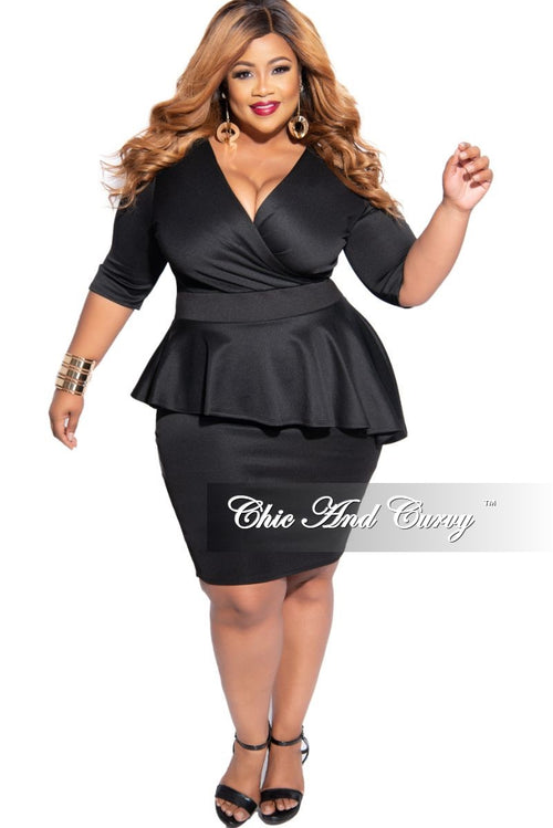 New Plus Size Faux Wrap Asymmetrical Peplum Dress in Black