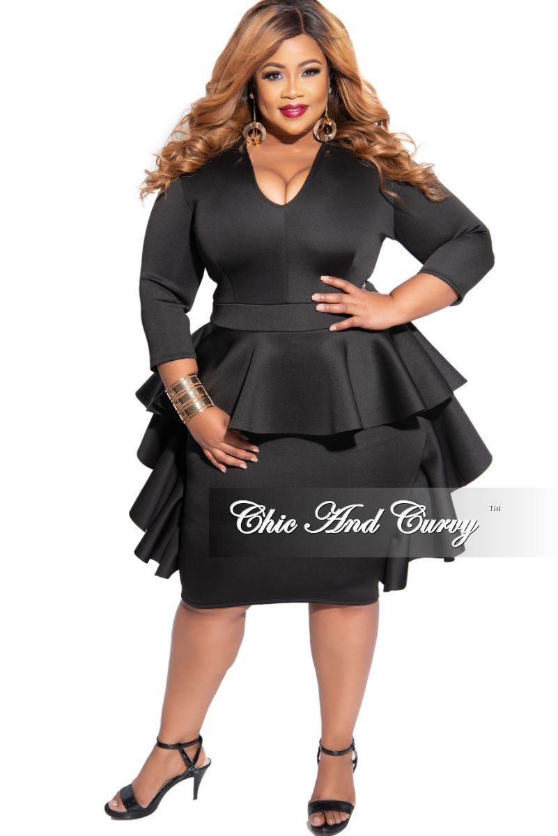 New Plus Size V-Neck Peplum Cascade BodyCon Dress in Black Scuba