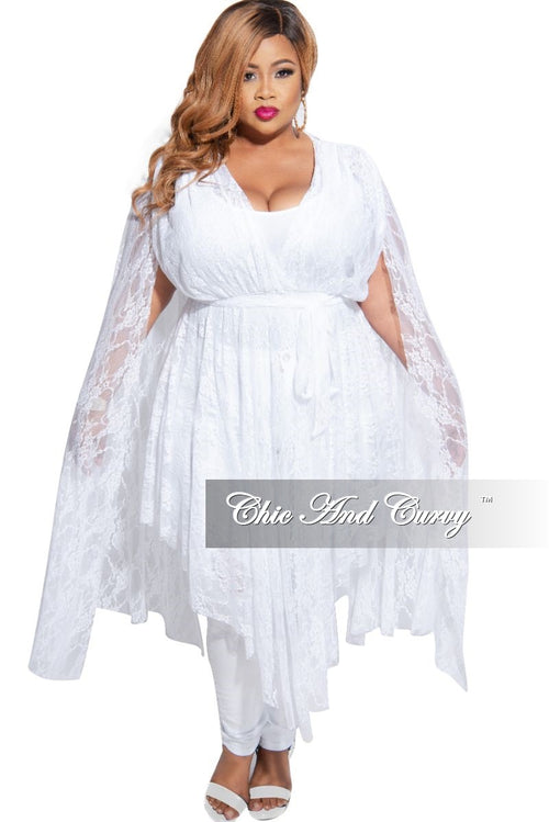 Final Sale Plus Size Lace Split Bell Sleeve Top in White