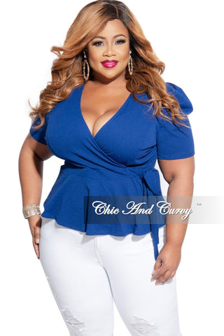 New Plus Size High-Low Midi Top in Blue Rainbow Print