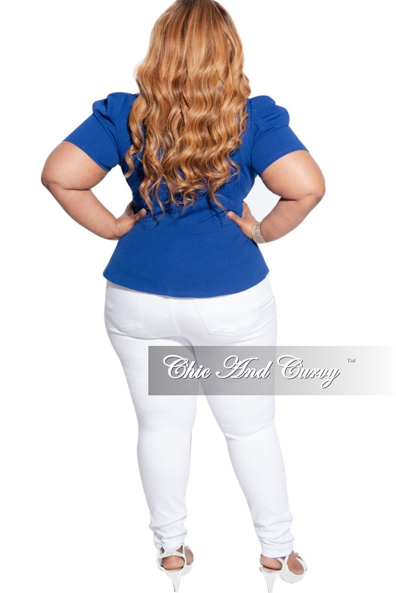 New Plus Size Faux Wrap Puff Shoulder Peplum Tie Top in Royal Blue