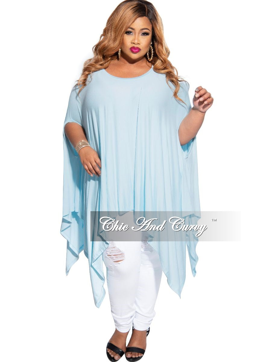 Final Sale Plus Size Draped Oversized Tunic Top in Baby Blue- One Size Fits Most