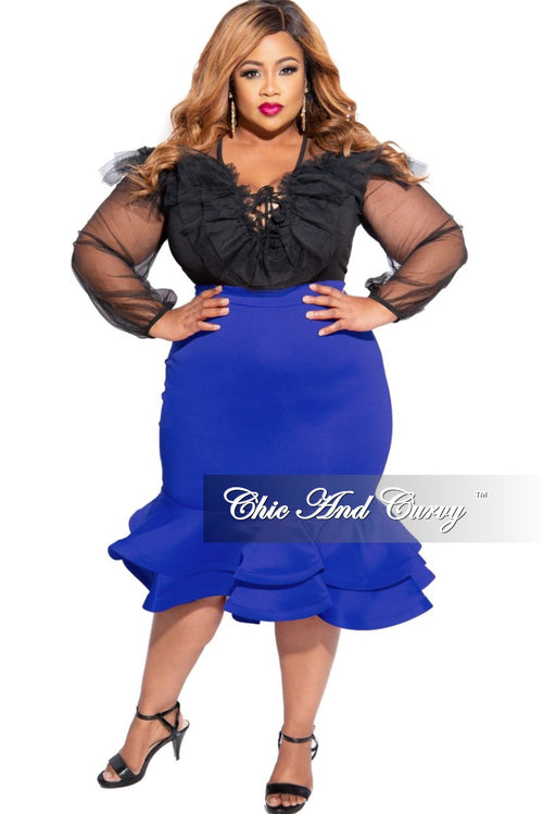 New Plus Size High Waist Ruffle Bottom Midi Skirt in Royal Blue