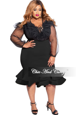 New Plus Size Faux Wrap BodyCon Tie Dress in Black