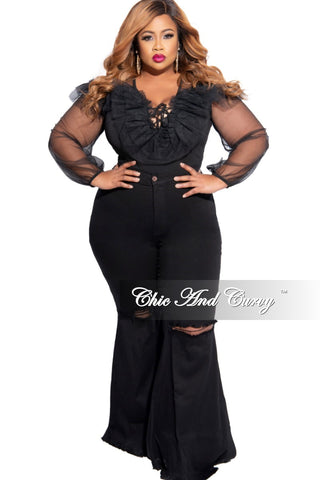 Final Sale Plus Size Faux Leather High Waist Wide Leg Pants in Black (Seasonal Item)