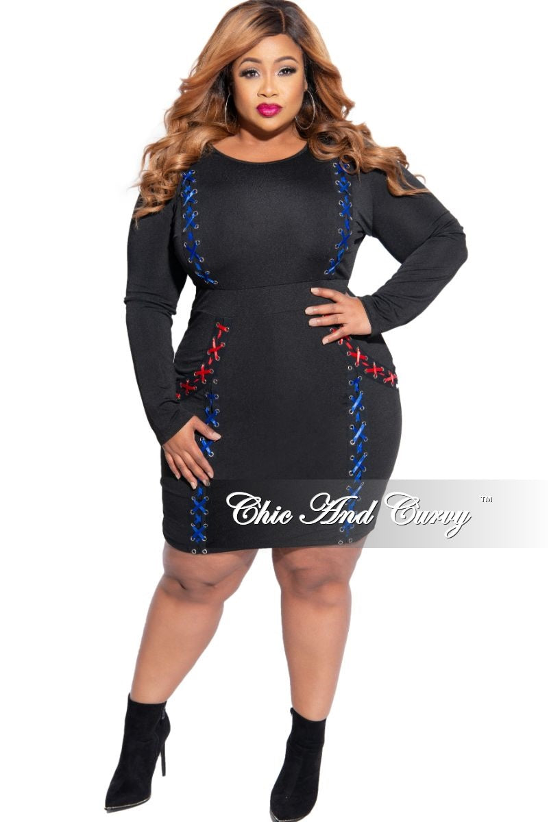 New Plus Size Lace-Up BodyCon Dress in Black Royal Blue and Red
