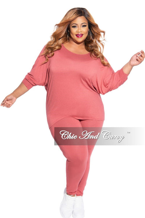 New Plus Size 2-Piece Top and Legging Set in Mauve