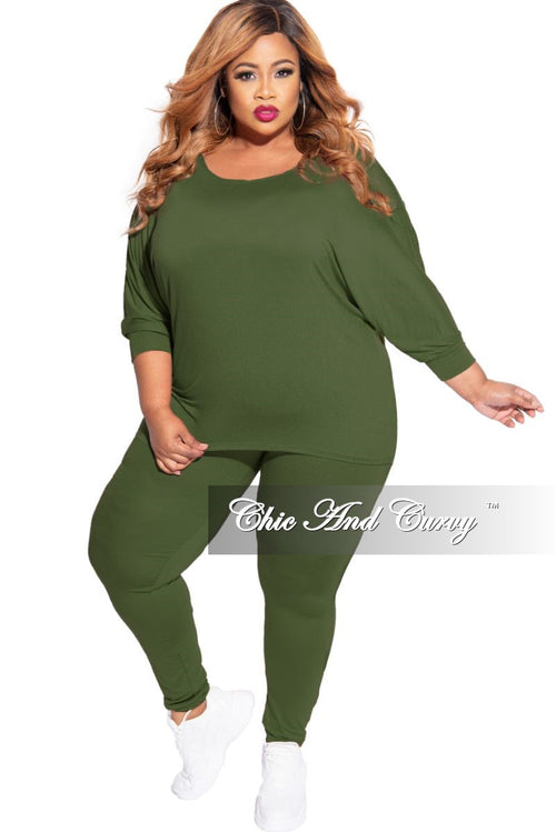 New Plus Size 2-Piece Top and Legging Set in Olive
