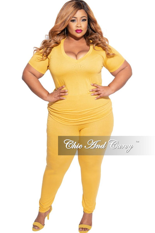 New Plus Size 2-Piece V-Neck Top and Legging Set in Mustard