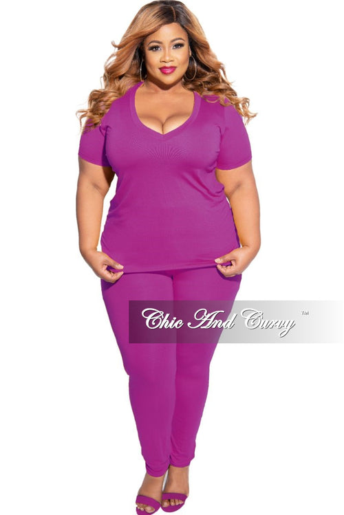New Plus Size 2-Piece V-Neck Top and Legging Set in Purple