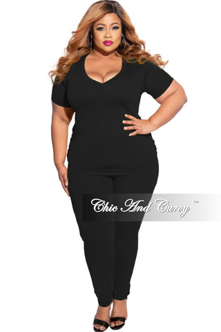 New Plus Size Exclusive 2-Piece Crop Top and Pants Set in Black