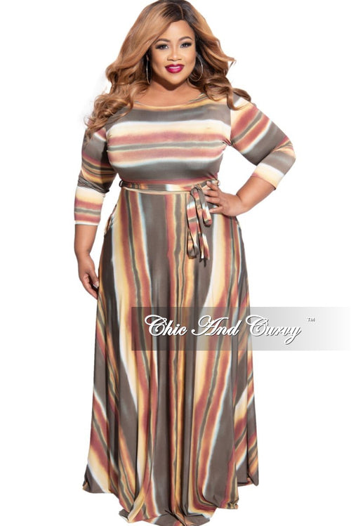 New Plus Size 3/4 Sleeve Pocket Tie Maxi in Taupe Multi Color Horizontal Stripe Print