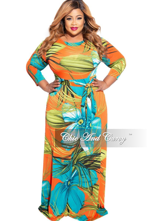 New Plus Size 3/4 Sleeve Pocket Tie Maxi in Turquoise & Orange Floral Print