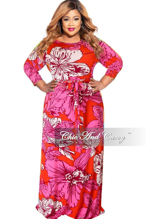 New Plus Size 3/4 Sleeve Pocket Tie Maxi in Red & Pink Multi-Color Floral Print