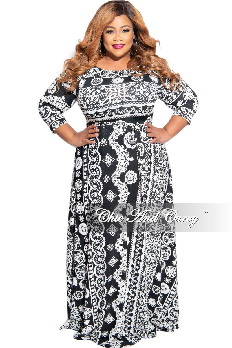 New Plus Size 3/4 Sleeve Pocket Tie Maxi with White and Black Embossed Print