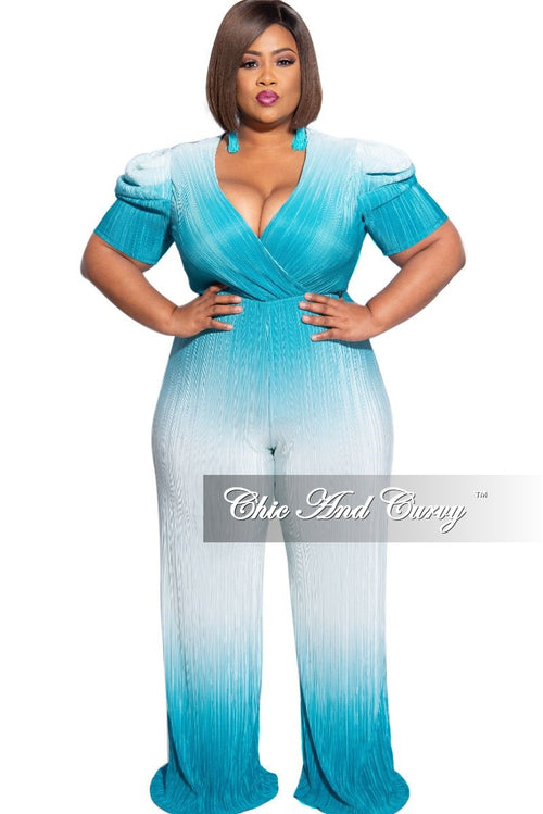 Final Sale Plus Size Pleated Jumpsuit in Turquoise and White Tie Dye Print