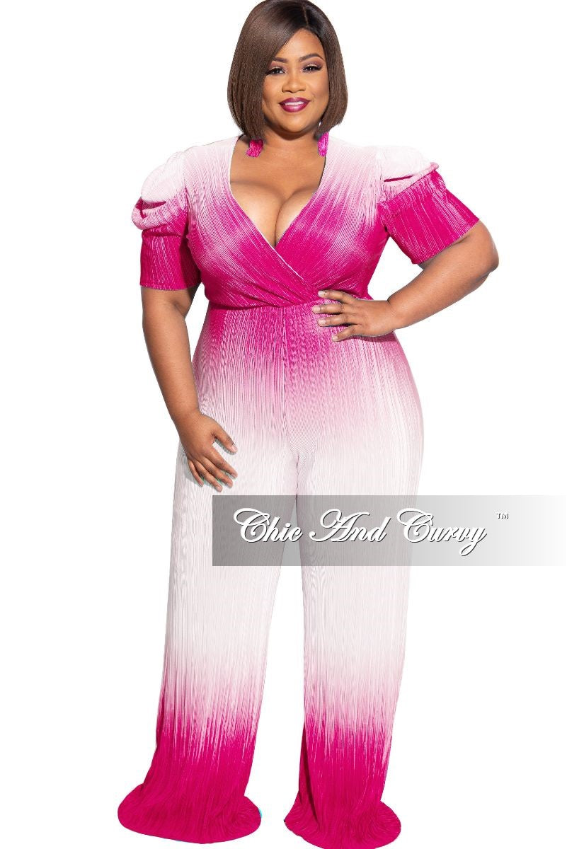Final Sale Plus Size Pleated Jumpsuit in Pink and White Tie Dye Print
