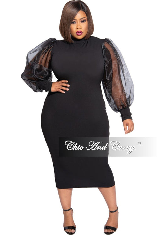 Final Sale Plus Size Sheer Organza Puffed Sleeve Bodycon Dress in Black
