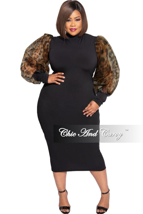 Final Sale Plus Size Sheer Organza Animal Print Puffed Sleeve Bodycon Dress in Black