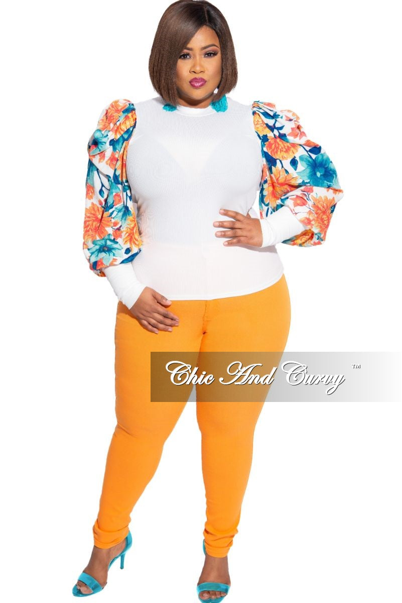 Final Sale Plus Size Ribbed Ruffled Peasant Sleeve Top in Off White & Orange, Turquoise Floral