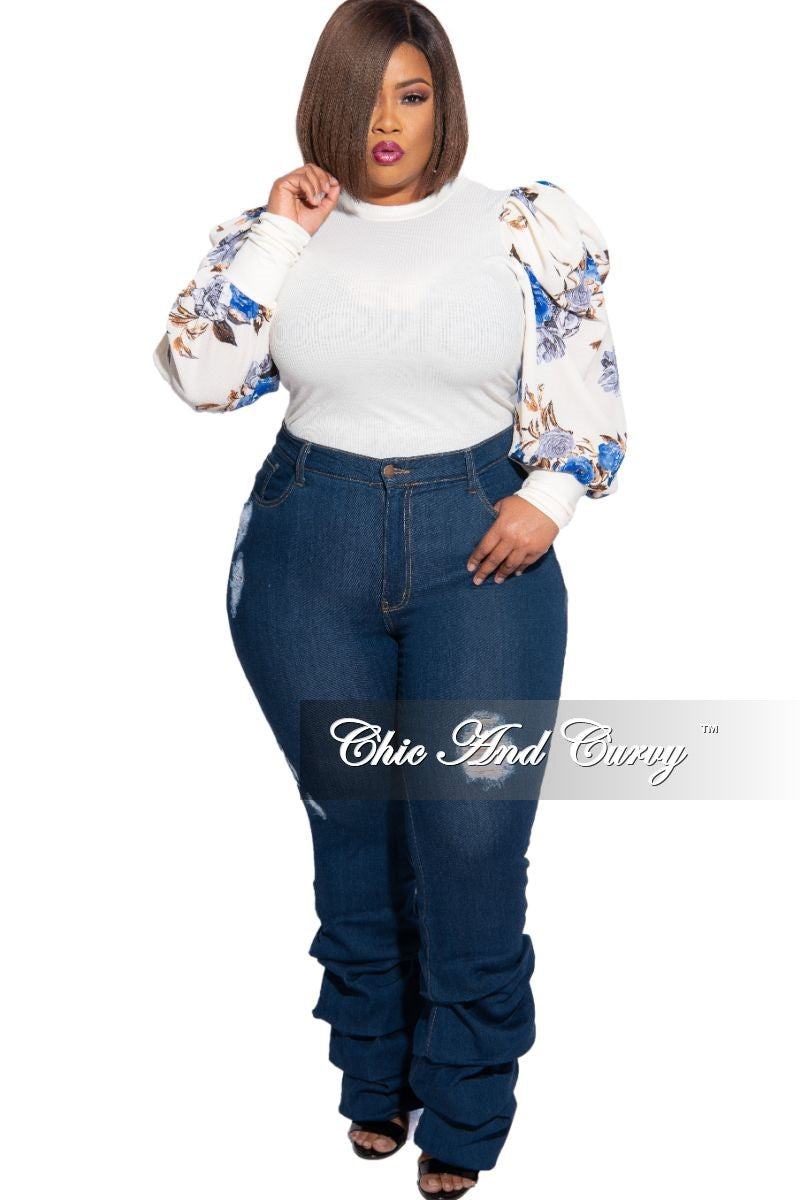 Final Sale Plus Size Distressed Ruched Leg Denim Jeans in Dark Blue
