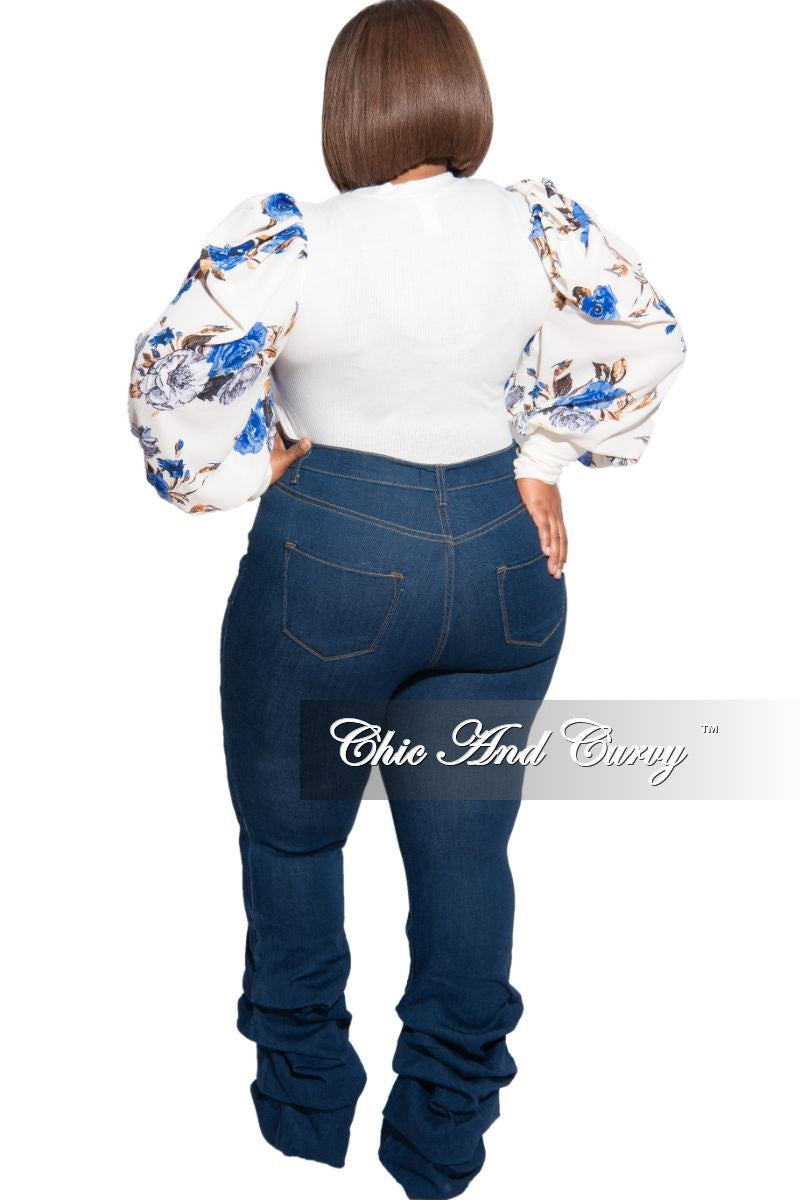 Final Sale Plus Size Ribbed Ruffled Peasant Sleeve Top in Cream & Floral Blue